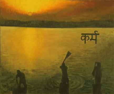 Ganges Scene (Oil on Canvas)