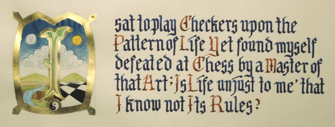 I Sat to Play Checkers... (Gouache, gold leafing pen, and ink on Tomoe River paper. 20 x 6.5cm.)